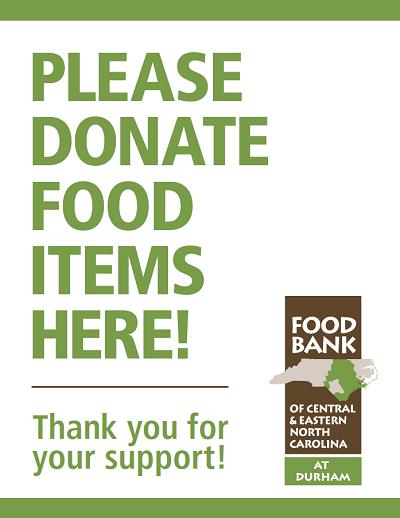 Durham Food Drive Sign